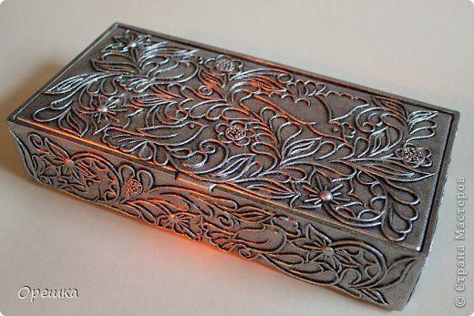 Поделка изделие Аппликация из скрученных жгутиков Шкатулка в серебре Пейп- арт Салфетки фото 1