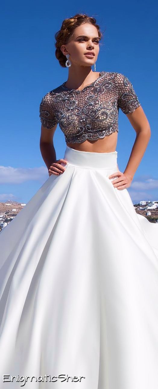 Long white full floor length skirt and blue cornflower lace cropped top: