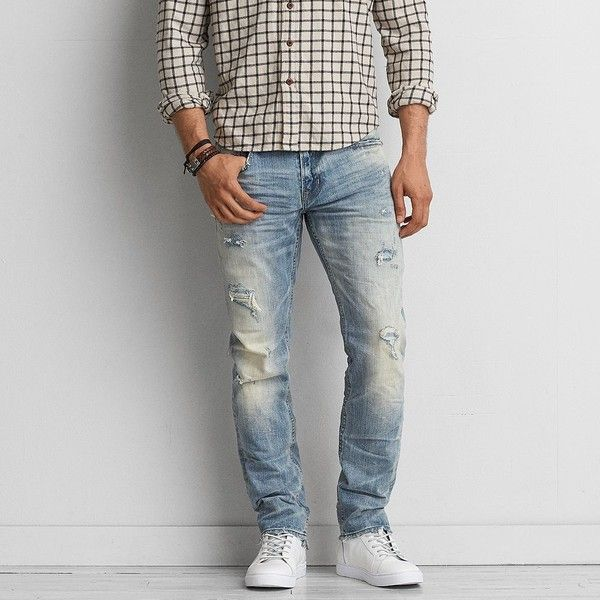 Slim Straight Jean ($33) ❤ liked on Polyvore featuring men's fashion, men's clothing, men's jeans, blue, mens distressed jeans, mens slim cut jeans, mens ripped jeans, american eagle outfitters mens jeans and mens destroyed jeans