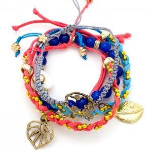 Pulsera Cuero con Corazón Nácar y Hojas | Tienda online de accesorios www.dulceencanto.com #pulseras #accesorios #colombia