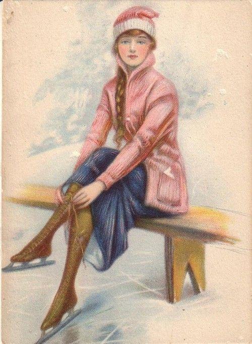 Skater, c 1916  -- I'm not a skater but I like her style...