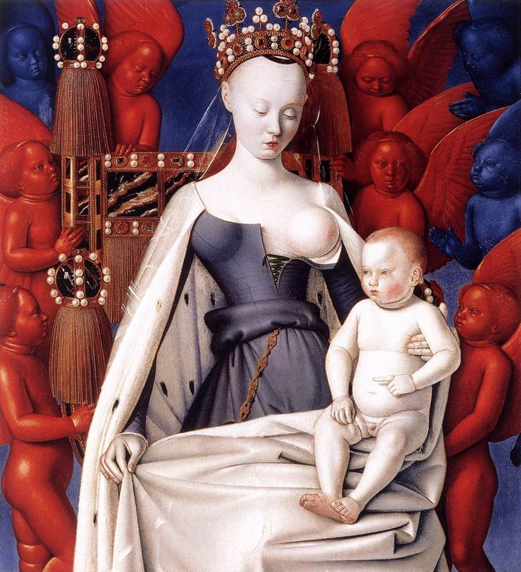Jean Fouget Maria met Kind tussen serafijnen en cherubijnen 1451-1452 paneel 94,5 x 85,5 cm Achtergrond rode en blauwe engelen. Sommige kunsthistorici zeggen engeltjes van dag en nacht. Anderen zeggen: Cherubijnen, blauw, symbool voor puurheid en rood, symbool voor vuur en passie.  Kijk goed naar ronde borst en de andere gestyleerde vormen. Let op de gladde textuur van huid en kleding. Het is behoorlijk strak, al zou je dit in eerste instantie niet zeggen.