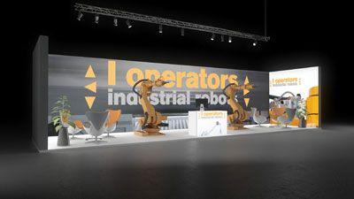 279 Industrieroboter l operators | Ansprechender Messestand für einen Hersteller von Industrierobotern.   Die rahmenlos bedruckte Leuchtwand in grau mit Logodruck in gelben Lettern mac...