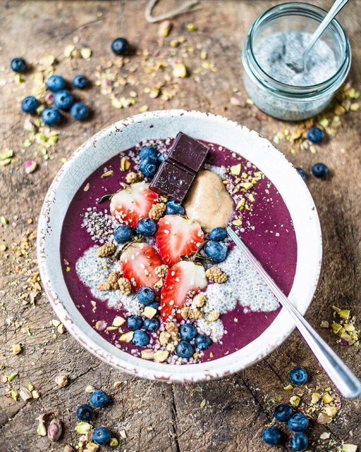 "Nadia Damaso on Instagram: ""Acai-Blueberry & Chia-Coconut Pudding Heaven!"