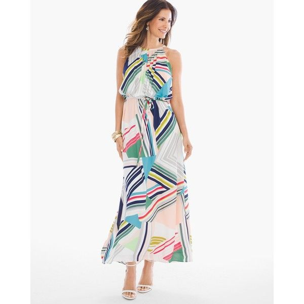 Chico's Multi Geo-Print Maxi Dress ($90) ❤ liked on Polyvore featuring dresses, multi, maxi dresses, petite maxi dresses, petite evening dresses, holiday party dresses and white party dresses