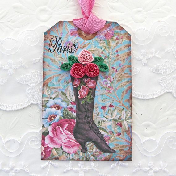 Boot Tags Paper Quilled Tags Gift Hang by EnchantedQuilling