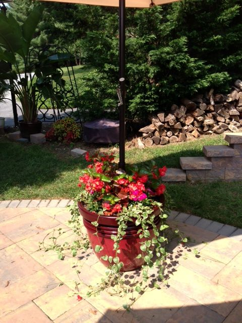 From: Sunset.com Patio Umbrella stand and Planter, we did ...