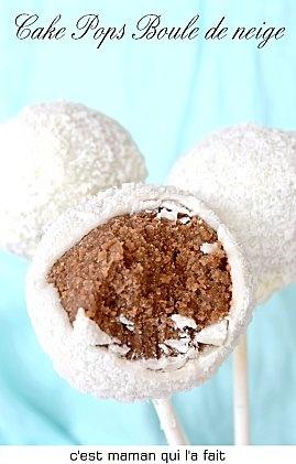 cake pops de noel boule de neige