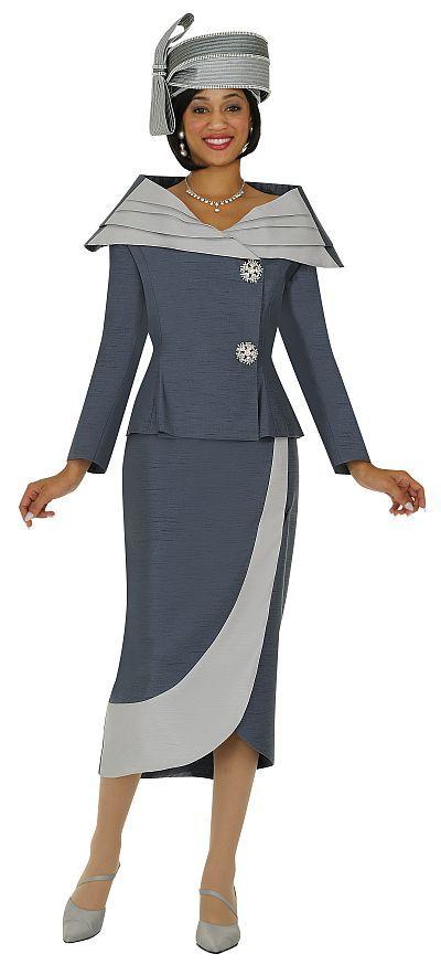 Black Women Wearing Church Hats | GMI Womens Two Tone Church Suit G4522 image