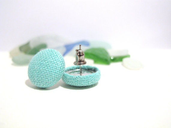 Turquoise fabric covered button earrings