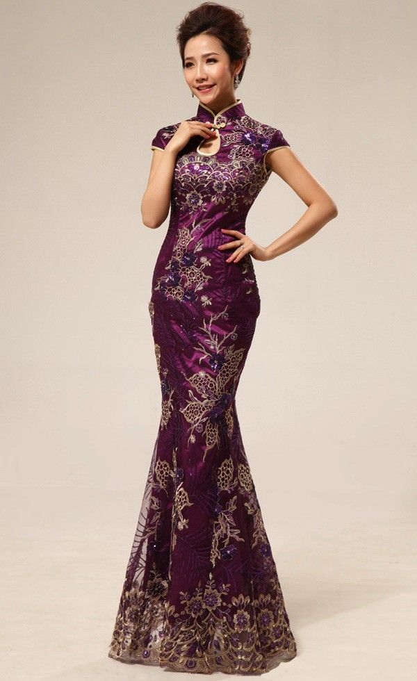 Burgundy Brocade Lace & Sequins Appliques Traditional Chinese Cheongsam Dress - iDreamMart.com