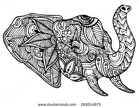 free zentangle elephant coloring pages - photo#31