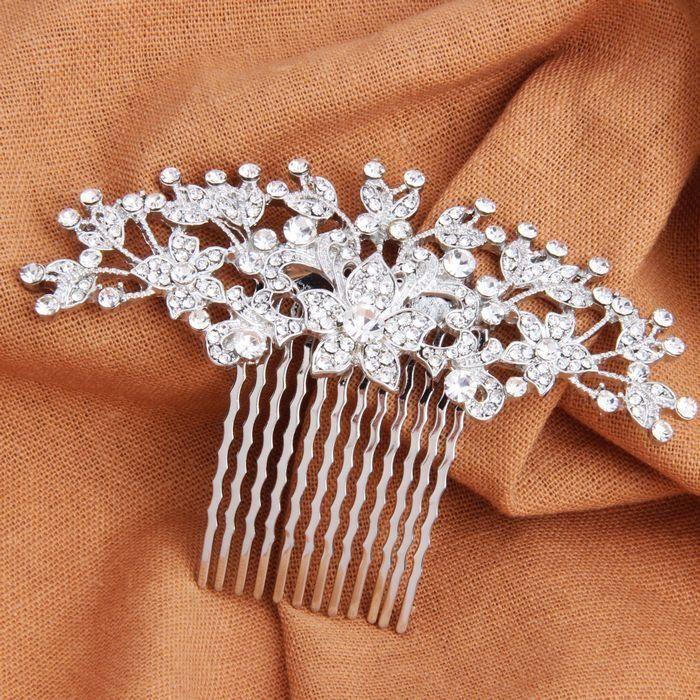 Rhinestone Bridal Hair Comb Vintage Silver