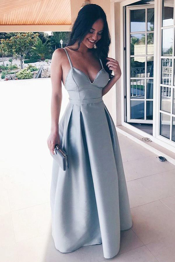 6a9dd93ea89 A-LINE SPAGHETTI STRAPS FLOOR-LENGTH GREY SATIN BACKLESS PROM DRESS PG564   promdresses  eveningdress  straps  greydress  cheappromdress
