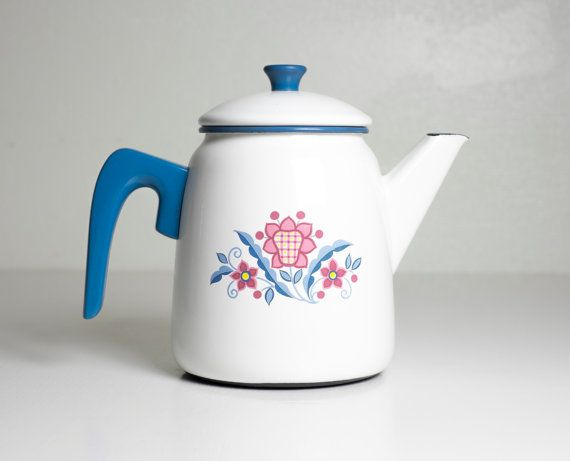 Vintage Kockums Sweden Enamelware Coffee Pot 1950's by Wohnstadt