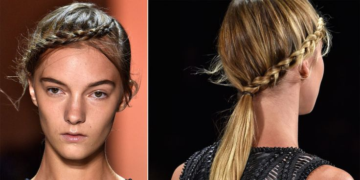 Orlando Pita, New York Fashion Week Ambassador for TRESemmé created the 'braided crown pony' at this show in New York. Starting at a deep side part, French braids went across the foreheads all the way to meet a low ponytail at the nape of the necks. The minimal makeup featured dewy highlights on the eyes, nose and lips.