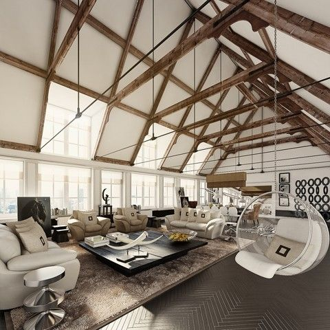 architecture by maryann: Living Rooms, Expo Beams, Open Spaces, Dream, High Ceilings, Loft Spaces, Hanging Chairs, Bubbles Chairs, Woods Beams