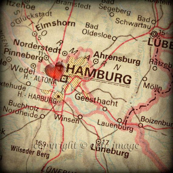 8 x 8 Landkarte von HAMBURG in Deutschland mit einer von EliteImage