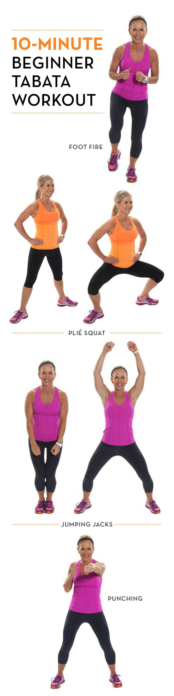 New to tabatas? Try this 10-minute fat-burning workout for beginners! #HIIT #fitness