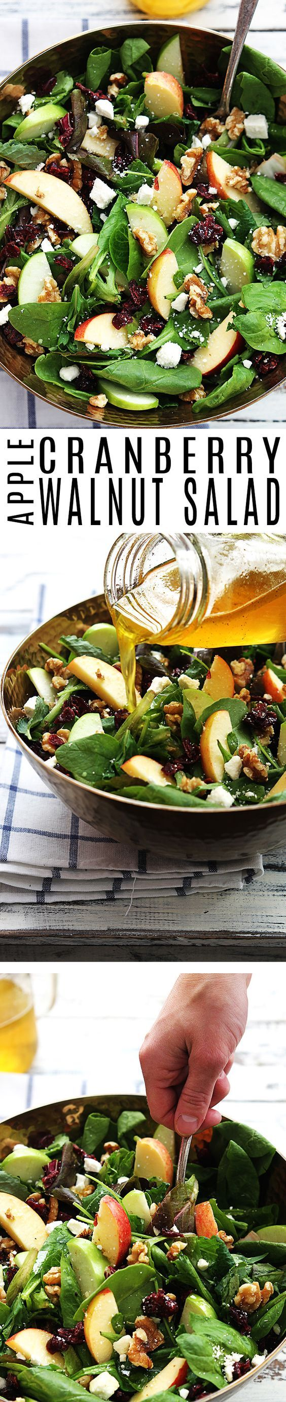 Crisp apples, dried cranberries, feta cheese, and hearty walnuts come together in a fresh Autumn salad.: