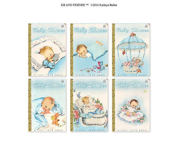 These are the sweetest baby shower cupcake toppers cake bunting decorations by KB and Friends™. These printable book themed baby shower tags look just like vintage book covers, and are perfectly sized to be used as cupcake toppers, cake bunting, labels or tags for a Little Golden Book