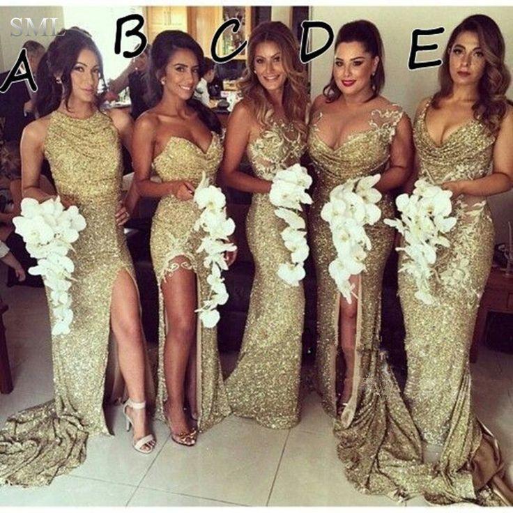 SML Sparkly Vestido de Dama de honra de Ouro Com 5 Estilos Sexy Decote Side Slit Sereia Tribunal Trem Lantejoula Vestido Da Dama de honra(China (Mainland))