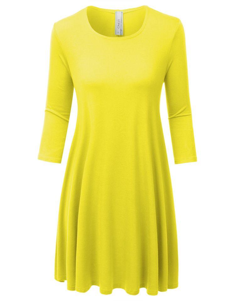 Womens Classic Scoop Neck 3/4 Sleeve Tunic Dress