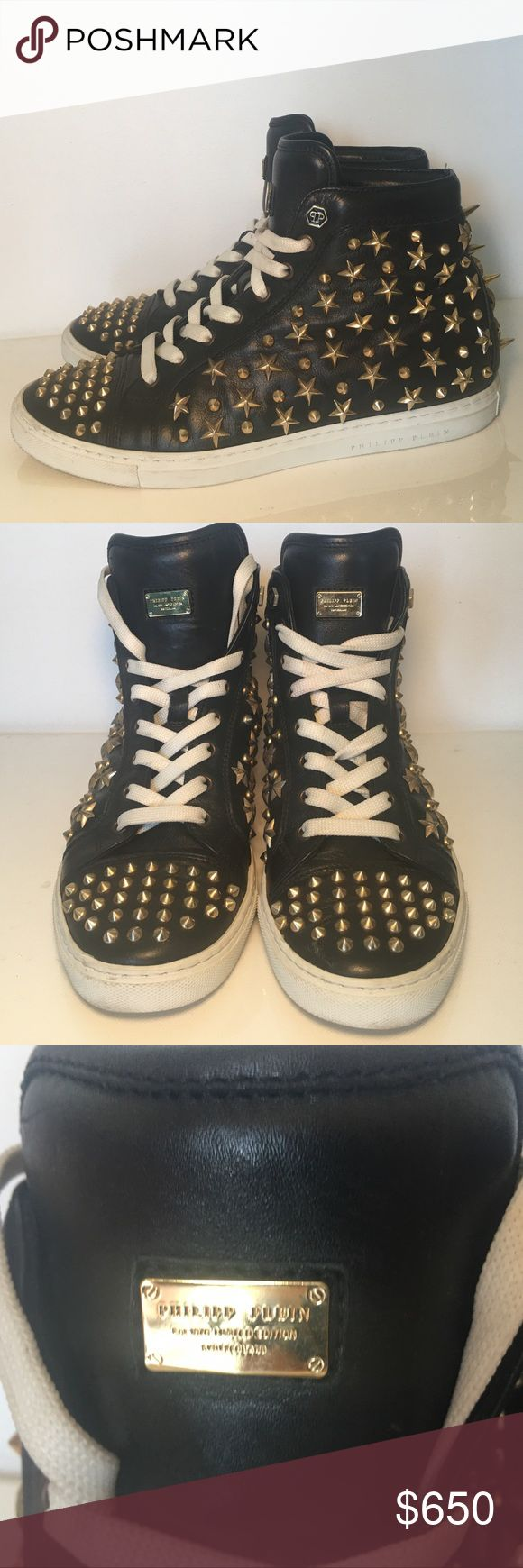 "PHILIPP PLEIN Est 1978 Limited Edition Sneaker PHILIPP PLEIN Est 1978 Limited Edition Switzerland Studded Lace-Up High-Top Fashion Sneaker ""Stars and Studs"" 100% Authentic Italian size 39 fits true to size  Black leather sneaker featuring a round toe strap, contrast gold -tone stars and studs throughout , a gold brand plaque on the top and a contrasting leather sole. One stud missing on the back. Made in Italy 🇮🇹 Philipp Plein Shoes Sneakers"