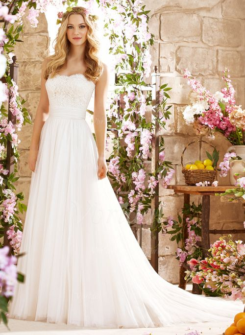 Wedding Dresses - $142.08 - A-Line/Princess Strapless Sweetheart Court Train Tulle Wedding Dress With Lace (0025060352)