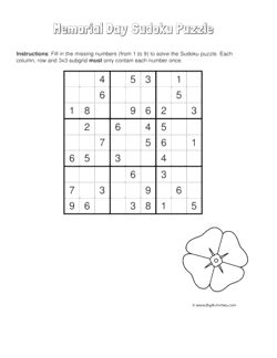 Memorial Day sudoku puzzle with a picture of a poppy. 4 levels of difficulty. Sudoku puzzle changes each time you visit