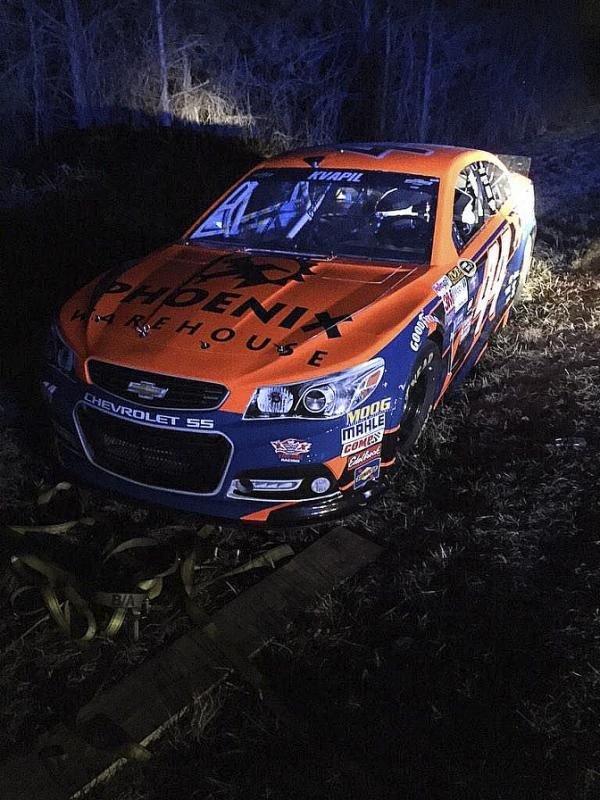 HAMPTON, Ga. (AP) — The No. 44 race car returned to its NASCAR shop in North Carolina on Saturday after it was recovered along a remote road in suburban Atlanta, apparently abandoned by the thieves who stole it from a hotel parking lot.