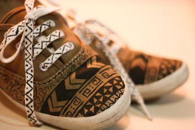 MY JUNKY BOX / IVIR ZIVIR KUTUSU: DIY: Tribal shoes / Tribal desenli ayakkabı