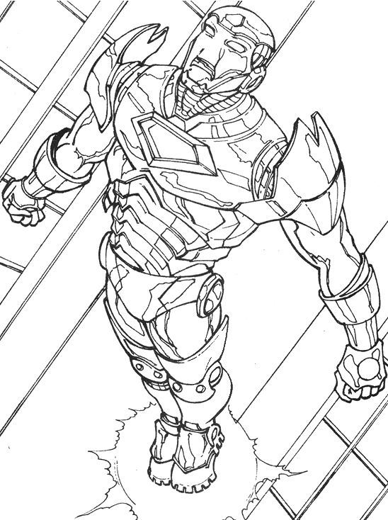 Iron Man Fly Coloring Page
