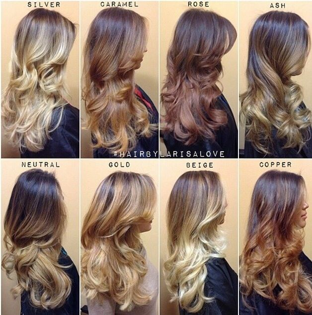 Shades of blonde for ombré and balayage