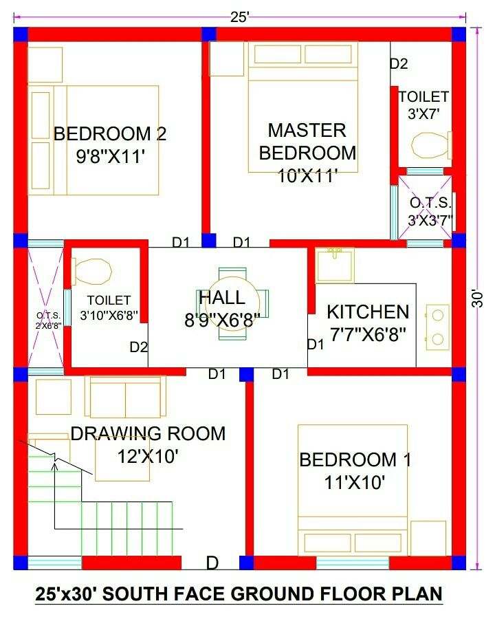 25x30 House Plans 25x30 House Plan South Facing 750 Sq Ft House Plans Indian Style 25x30 House 20x30 House Plans 2bhk House Plan My House Plans