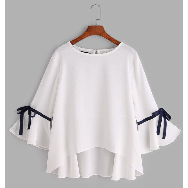 White Bell Sleeve Bow Tie Dip Hem Blouse ($25) ❤ liked on Polyvore featuring tops, blouses, bell sleeve blouse, 3/4 length sleeve tops, three quarter sleeve tops, 3/4 sleeve blouse and white flared sleeve top