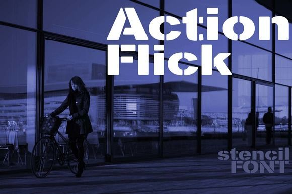 Action Flick stencil font by Minhocossauro Emporium on @creativemarket