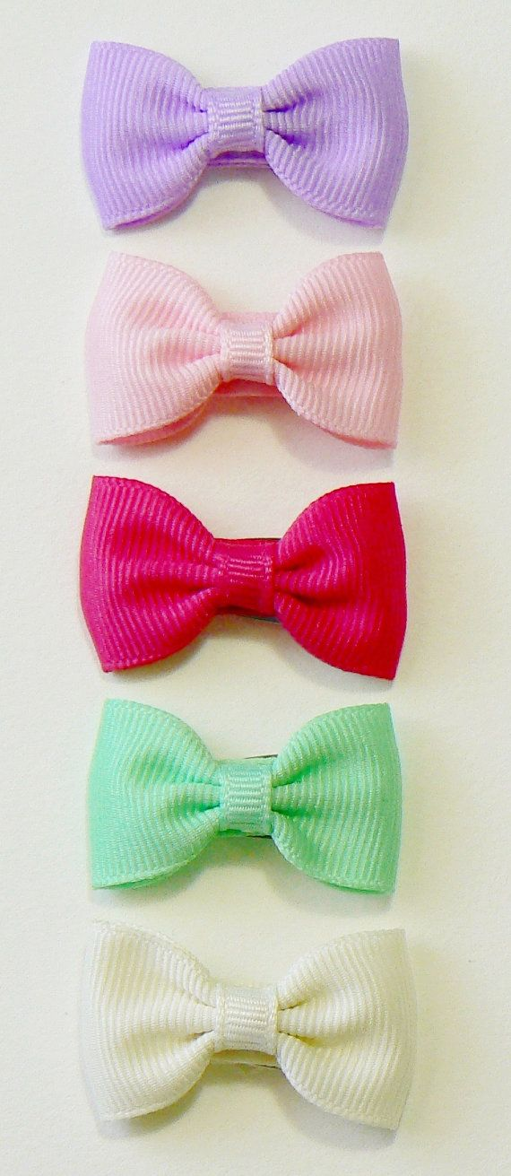 Girls Infant Hair Bow Set Newborn Small Tiny Little Baby Bows Kids Boutique Hair Clip Hairbows (Set of 5) Choose Colors on Etsy, $9.98