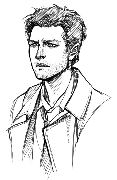 """doromon: """"  Sketches of attractive people. Why is Castiel is so hard to draw tho ;n; """""""