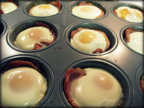 """bacon and eggs to go---preheat oven to 350 F. In a muffin pan, place a piece of Canadian bacon into each hole. Press it down and crack an egg into each piece of bacon. Cook in oven approx: 1. Runny yolk (8 min). 2.Semi-soft-yolk 3. Hard, crumbly egg (14 min). Pop the egg """"cups"""" of pan once cooled enough to handle. These are yummy with a dollop of garlic cooking cream."""