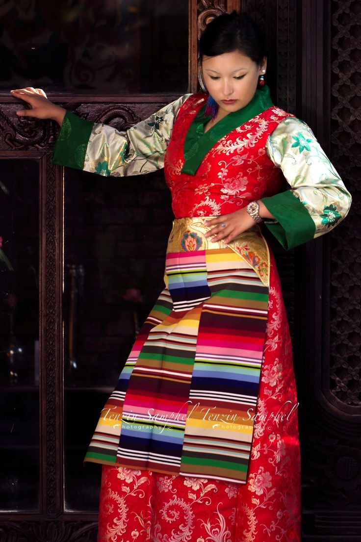 A Tibetan Women Wearing Wedding Chupa With Apron