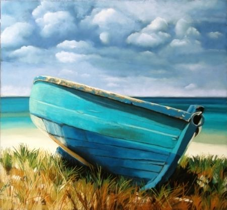 Blue Boat, original painting by artist Ria Hills | DailyPainters.com
