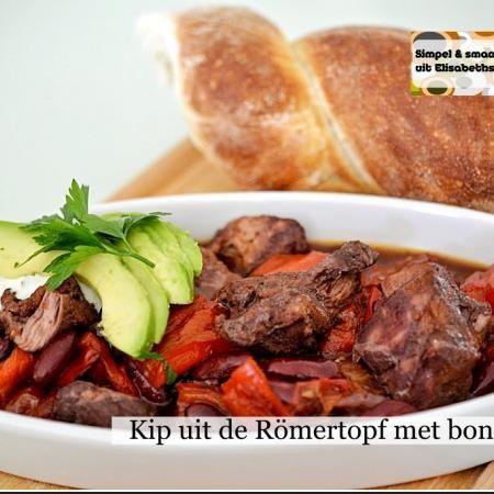 Kip met bonen uit de Römertopf