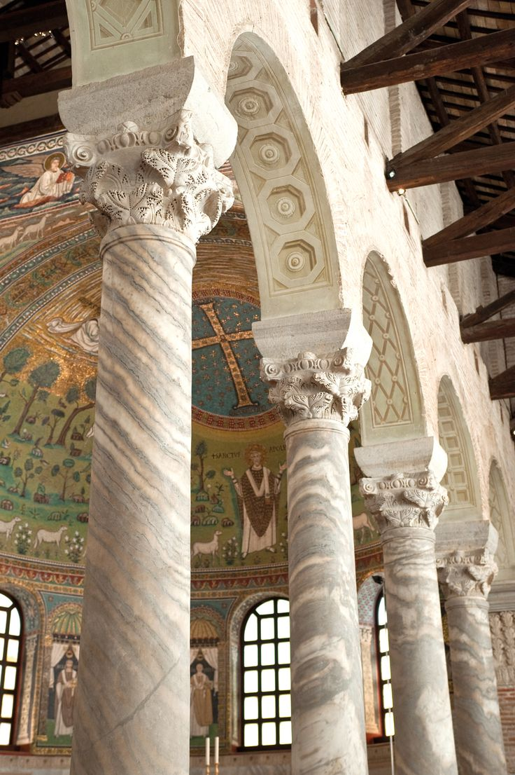 Basilica of Sant'Apollinare in Classe - Detail of the Columns and the Apsidal Mosaic with Saint Apollinaris [ #Ravenna #myRavenna]