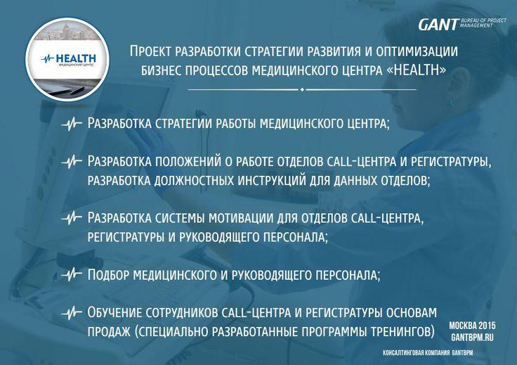 Консалтинг в медицине https://gantbpm.ru/proekty/konsalting-v-medicine/  Эксперты консалтинговой компании GANTBPM проводили работы в одной из частных клиник москвы.  Специалисты разработали проект стратегии развития и оптимизации бизнес процессов медицинского центра, в частности были произведены работы по:  Разработке стратегии работы медицинского центра  Разработка положений о работе отделов call центра и регистратуры  Разработка должностных инструкций для данных отделов  Разработка системы…