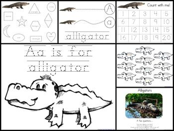 1+1+1=1...Animal ABC  Fantastic sets of printables for tracing, counting, coloring, cutting/pasting, themed for the entire alphabet