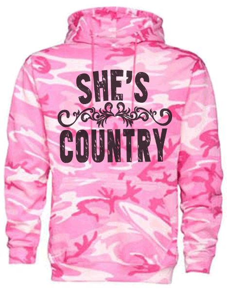 Southern Sisters Designs - She's Country Hoodie On Camo Woodlands With Black Graphic, $34.95 (http://www.southernsistersdesigns.com/shes-country-hoodie-on-camo-woodlands-with-black-graphic/)