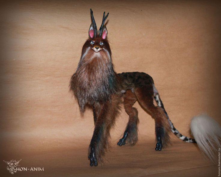 Купить Фантазийный зверь - коричневый, зверь, фэнтези, фантазия, лес, лесной, животное, собака, олень