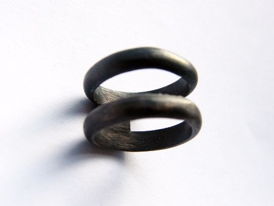 Silver Rings – Pair. handmade double black silver ring – a unique product by LydiaRED on DaWanda