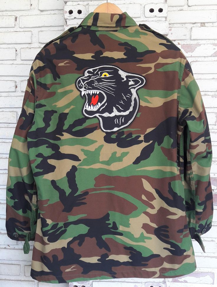 Black Panther Camo Jacket / Hand Reworked Vintage Military Camo Jacket with Patches / Patched Military Camouflage Jacket Size: L by KodChaPhornJacket465 on Etsy